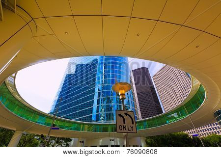 Houston skyline cityscape from Bell St in Texas US USA