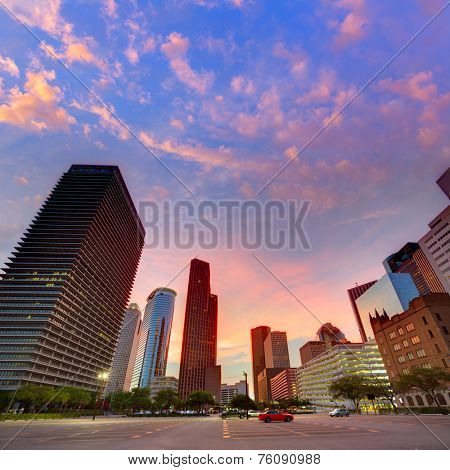Houston Downtown skyline at sunset from south in Texas US USA
