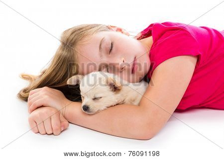 blond kid girl with puppy chihuahua pet dog sleeping lying on white background
