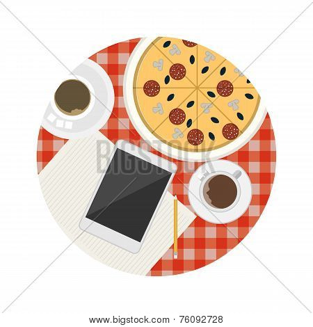 Flat vector icon for business lunch table