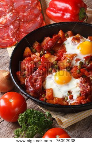 Fried Eggs With Chorizo And Vegetables in The Flemish Recipe