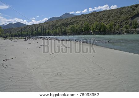 Empty Sandy Beach On The River