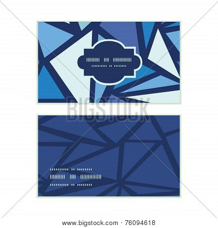 Vector abstract ice chrystals horizontal frame pattern business cards set