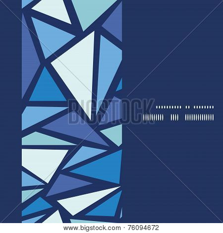 Vector abstract ice chrystals vertical frame seamless pattern background