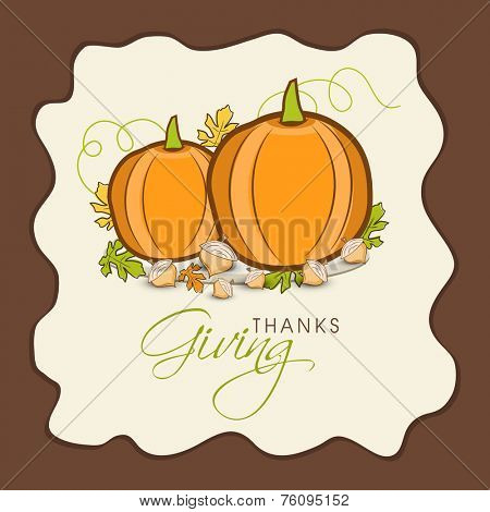 Stylish Happy Thanksgiving Day greeting card decorated with pumpkin and autumn leaves.
