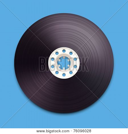 A vector illustration of a recordable bobbin of tape cassette.