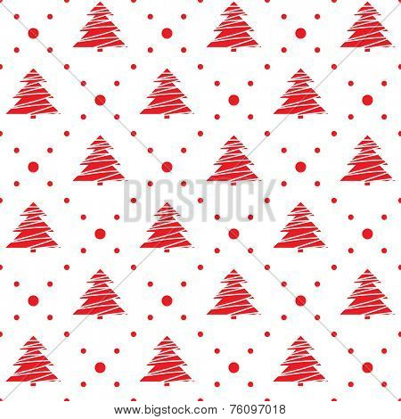Seamless pattern. Christmas ornament with xmas trees and dotted rhombuses. Holiday background