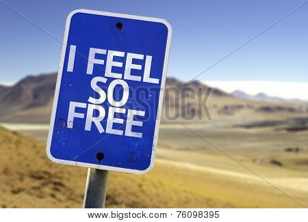 I Feel So Free sign with a desert background