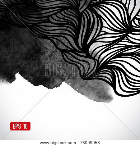 Abstract vector black and white design with waves. Urban theme d