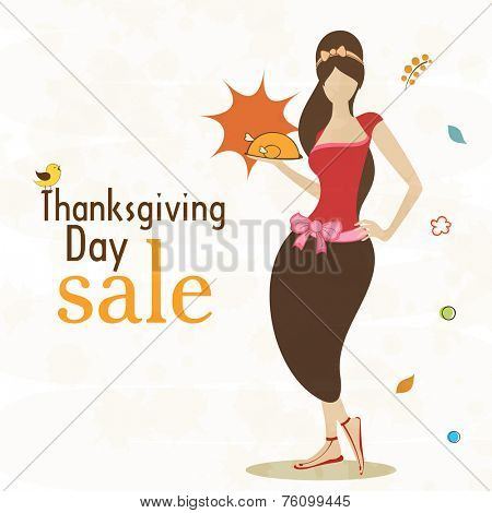 Thanksgiving Day celebration with sale and stylish girl holding a cooked chicken.