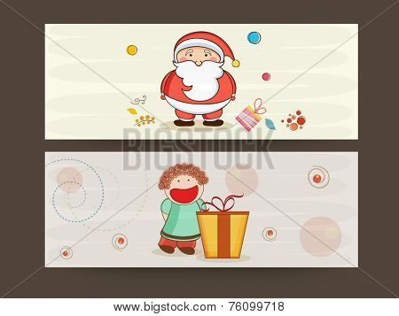 Website header or banner design for Merry Christmas celebrations with kiddish Santa Claus and cartoon of a girl on stylish background.