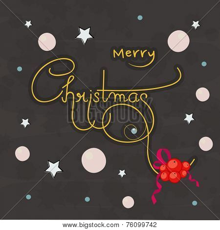 Merry Christmas poster design with stylish text and mistletoe on stars and moon decorated night background.