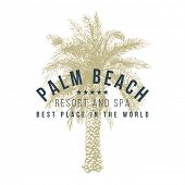 stock photo of palm  - palm beach logo template with hand drawn palm tree - JPG
