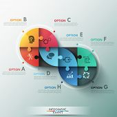 stock photo of puzzle  - Modern infographic options banner with circle made of 8 puzzle elements - JPG