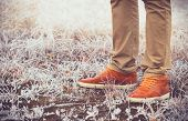 foto of swag  - Feet Man walking Outdoor Lifestyle Fashion trendy style Winter season nature on background - JPG
