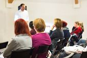 stock photo of speaker  - Speaker at business workshop and presentation - JPG