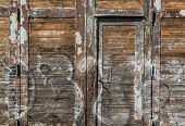 picture of polonia  - old wooden plank doors in Gdansk Poland - JPG