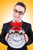image of time-bomb  - Man with time bomb isolated on white - JPG