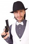 pic of cap gun  - Man with gun isolated on the white - JPG