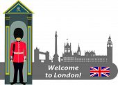 pic of british culture  - British Royal Guard and the silhouette of the famous buildings in London - JPG