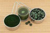 stock photo of chlorella  - Chlorella tablets - JPG