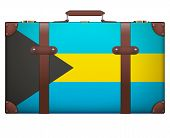 stock photo of carry-on luggage  - Classic luggage suitcase with flag Bahamas for travel - JPG
