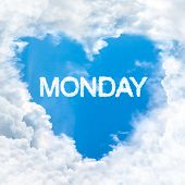stock photo of monday  - monday word nature on blue sky inside love heart cloud form - JPG