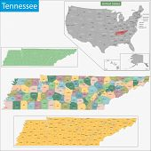 stock photo of memphis tennessee  - Map of Tennessee state designed in illustration with the counties and the county seats - JPG