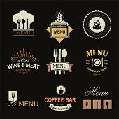 pic of restaurant  - Vintage set of restaurant signs - JPG
