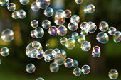 image of bubbles  - The rainbow bubbles from the bubble blower - JPG