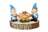 stock photo of gnome  - Gnomes celebrating Thanksgiving against a white background - JPG