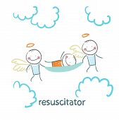 image of stretcher  - resuscitator carry on a stretcher patient - JPG