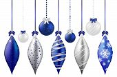 picture of yule  - Set of shiny blue and silver christmas balls  - JPG