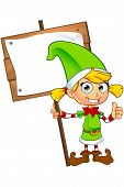pic of elf  - A cartoon illustration of a cute girl elf character dressed in green - JPG