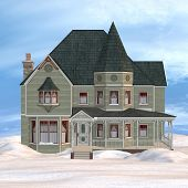 image of victorian houses  - 3D digital render of a beautiful Victorian winter house on blue sky background - JPG