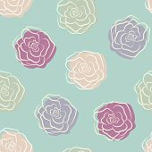 stock photo of pale  - Calm seamless pattern in pale colors with multicolor pastel doodle roses - JPG