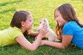 pic of petting  - twin sister kid girls and puppy dog happy playing with pet lying in backyard lawn - JPG