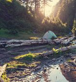picture of tent  - tent in mountains - JPG