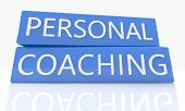 foto of self assessment  - 3d render blue box with text Personal Coaching on it on white background with reflection - JPG