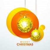picture of merry chrismas  - Beautiful shiny golden hanging X - JPG