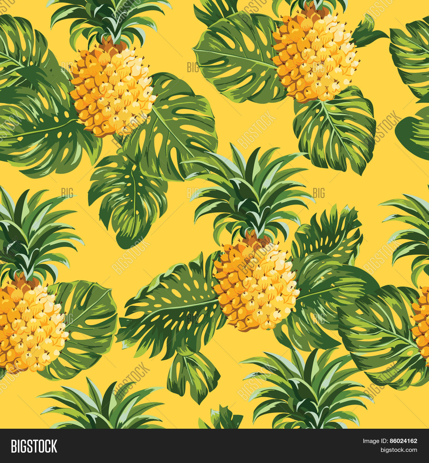 Pineapples Tropical Leaves Vector & Photo | Bigstock