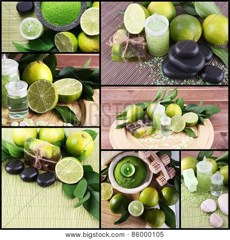 Lime spa compositions in collage