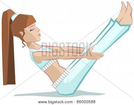 Yoga woman. Paripurna Navasana - Full Boat Pose.