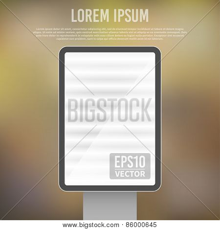 Vector empty vertical  light billboard background template
