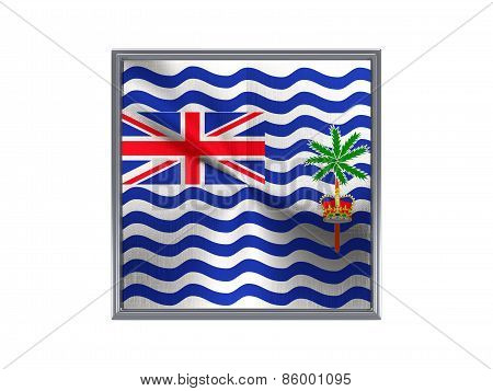 Square Metal Button With Flag Of British Indian Ocean Territory