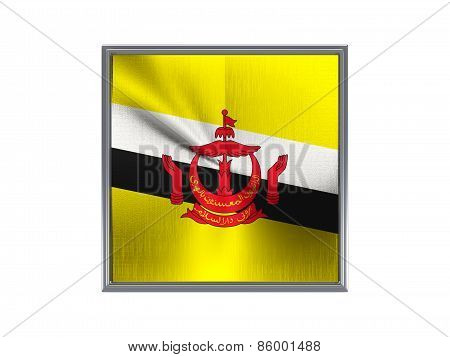 Square Metal Button With Flag Of Brunei