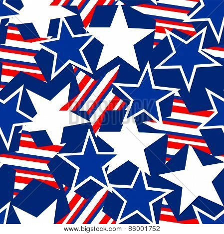 Usa Stars And Stripes Seamless Pattern