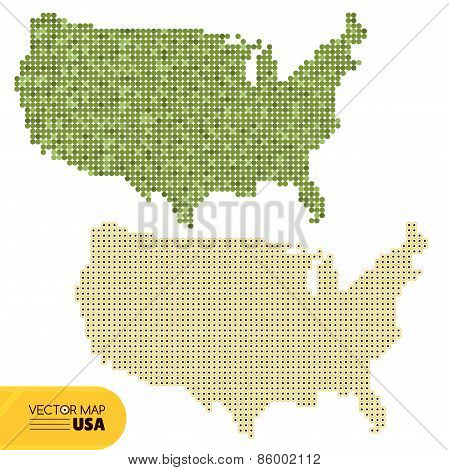 Vector Dotted Map Of Usa
