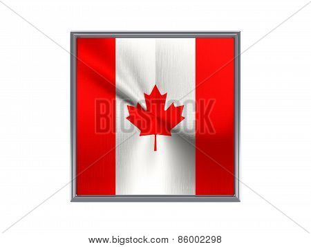 Square Metal Button With Flag Of Canada