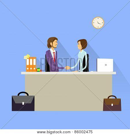 Business people handshake meeting signing agreement, businessman and businesswoman hand shake sittin